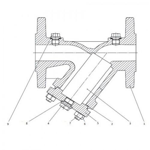 Фильтр чугунный сетчатый фланцевый  ЮБС1712 (ду 25)