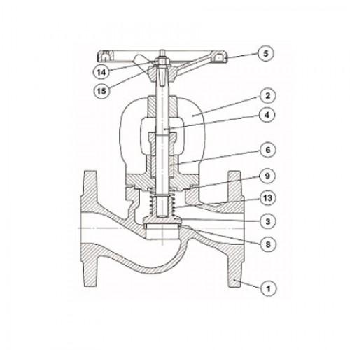 Клапан проходной невозвратно-запорный чугунный фланцевый ЮБС1513-01 (ду 125)