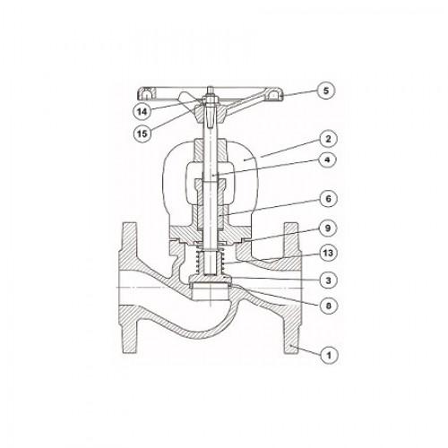 Клапан проходной невозвратно-запорный чугунный фланцевый тип: 1513 (ду 150)