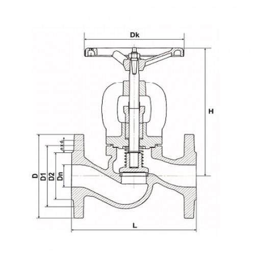 Клапан невозвратно-запорный фланцевый стальной ЮБС1515 (ду 20)
