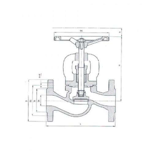 Клапан запорный проходной фланцевый чугунный ЮБС1511(ду 15)