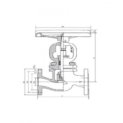 Клапан запорный проходной фланцевый стальной ЮБС1514(ду 50)