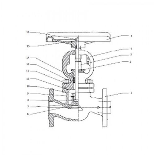 Клапан запорный проходной фланцевый стальной ЮБС1514(ду 100)