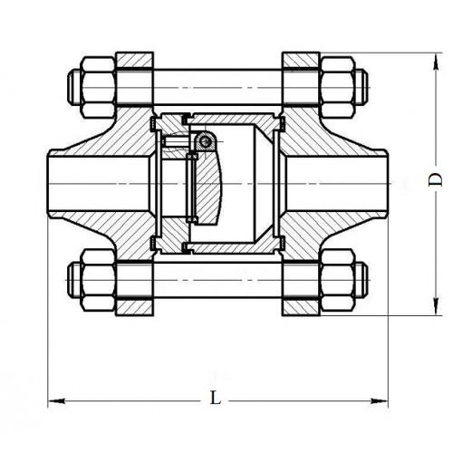 Клапан обратный поворотный фланцевый 19с38нж ЮБС1932 (ду 200)