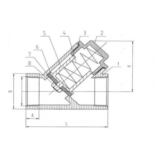 Клапан обратный муфтовый из нержавеющей стали ЮБС1608 (ду 15)