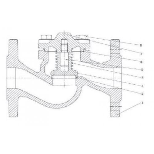 Клапан обратный подъемный фланцевый чугунный ЮБС1610 (ду 150)