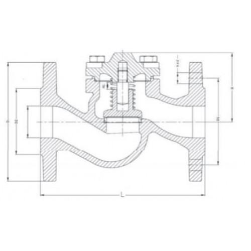 Клапан обратный подъемный фланцевый стальной ЮБС1612 (ду 32)