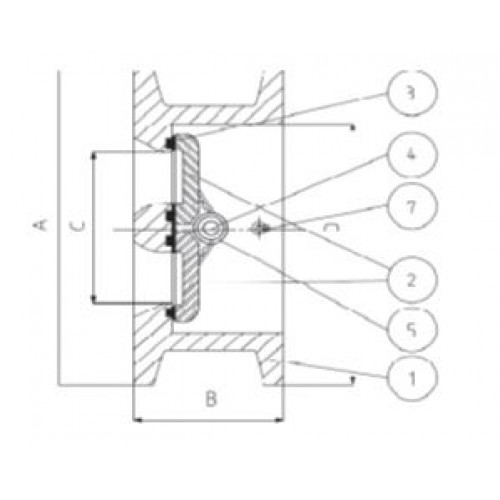Клапан обратный двухстворчатый межфланцевый ЮБС1913 (ду 250)