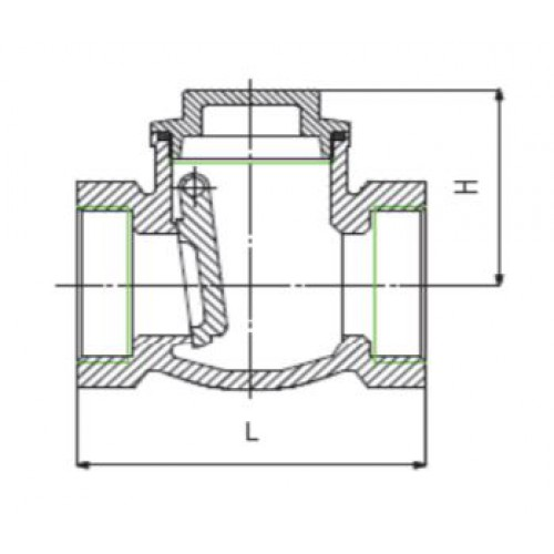 Клапан обратный поворотный из нержавеющей стали с резьбовым присоединением ЮБС1918 (ду 32)