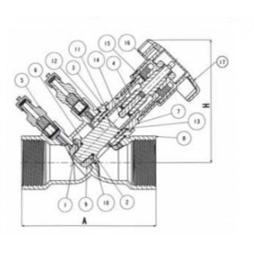 Клапан балансировочный со встроенной диафрагмой латунный муфтовый VIR 9515 (ду 40)
