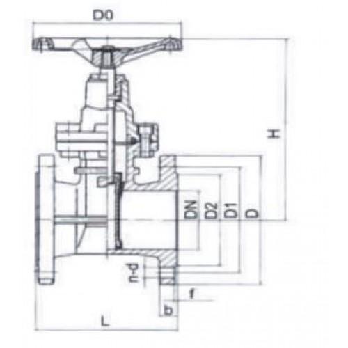 Задвижка клиновая фланцевая чугунная 30ч39р ЮБС3010 (ду 80)