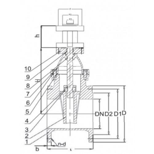 Задвижка клиновая фланцевая чугунная под электропривод по ОСТу 30ч939р ЮБС3012 (ду 50)