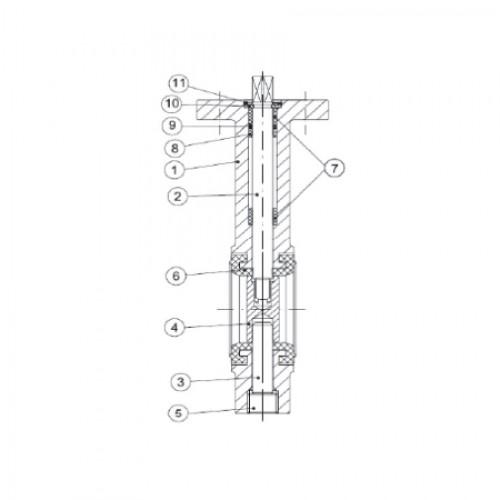 Затвор дисковый поворотный межфланцевый с рукояткой ЮБС 3209 (ду 100)