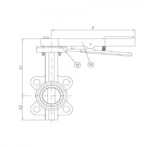 Затвор дисковый поворотный межфланцевый с рукояткой ЮБС 3209 (ду 80)