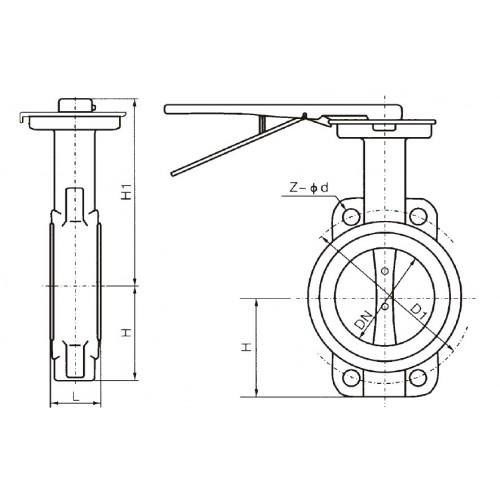 Затвор дисковый поворотный межфланцевый с рукояткой ЮБС 3201 (ду 200)