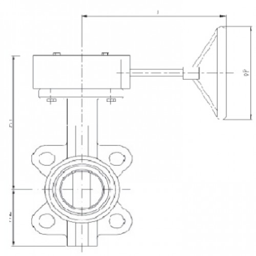 Затвор дисковый поворотный межфланцевый с редуктором ЮБС3210 (ду 250)